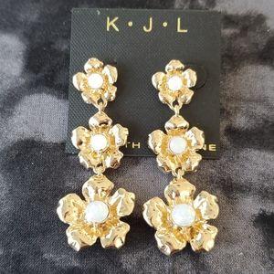 Kenneth Jay Lane fashion flower drop earrings